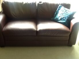 Two Leather brown two seaters sofa, originally from debenham