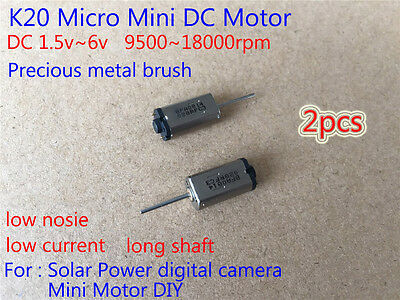 2pcs Mini Silent K20 Motor 1.5v6v 3v 5v Long Shaft Micro Dc Motor For Diy Parts