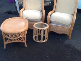 Cane chairs table stool
