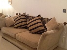 LAST CHANCE!! Gold Sofa with patterned cushion feature and matching Armchair.