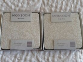 Denby Monsoon Lucille Gold 4 pack coasters