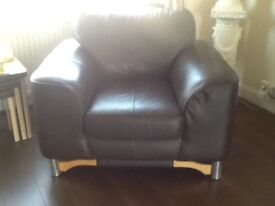 Dark brown Leather 3 seater and chair some marks shown in pictures
