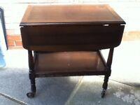 Vintage Oak Trolley Table on castors