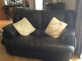 2 & 3 seater leather settee with recliners.