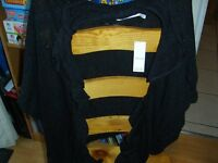 Ladies one size from m+ co £6 black sparky sleeveless cardigan/ shrug never worn