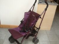 Stroller by Silver Cross in purple-fully operational,seat covers been washed,reclines,folds compact