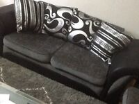 3 & 2 Seater Black and Grey sofa with throwback cushions