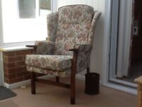 Winged floral arm chair