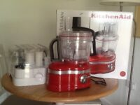 Kitchen Aid food processor used twice as new. Red. Boxed with recipe book, full instructions