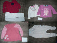 Bundle of 35 clothes for girl 12-18mths old: body- & sleepsuits, tops, dresses,leggings,cardi,jacket