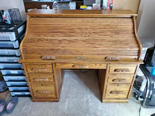 Large Solid Wood Oak Roll-top Desk Beautifully Made Victorian Style