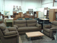 Large 2 seater sofa with 2 matching armchairs (1 is a recliner)