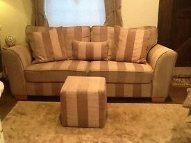 Next natural strip sofa and footstool including cushions £50.00
