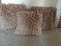 3 faux Mongolian cushions beige