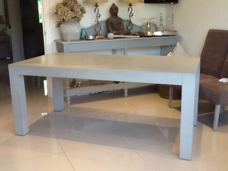 b07777b435 G Plan Heavy Solid Wood Dining Table in Paris Grey Chalk Paint - Shabby Chic  - (seats 6-8)