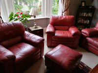 Red leather 3 piece suite and footstool