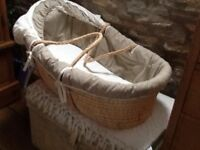 Moses basket and extras.
