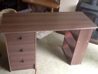 Child's small desk, with drawers and shelves