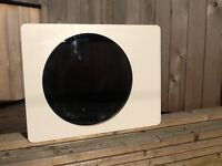 A stylish White & wood veneer slim bathroom cabinet with a round mirror, for sale £25.