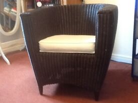 Dark brown tub wicker chair with cushion (used)