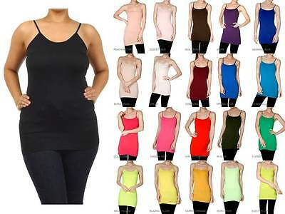 BASIC LONG LAYERING CAMI TANK TOP PLUS SIZE ADJUSTABLE SPAGHETTI STRAPS 1X/2X/3X