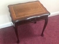 Rosewood and teak hall/lamp/telephone table with drawer