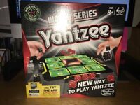 World Series Yahtzee board game. Excellent condition, all parts present and boxed.