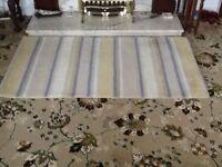 All wool rug in yellow/ beige/ grey stripes