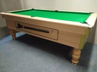 Beech 7x4 Slate Bed Pub Pool Table - New Recover & Accessories - Free Local Delivery - Coin Operated