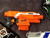 Nerf stryfe and Nerf strongarm with 2 vests