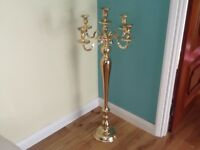 Gold effect tall floor standing candelabra