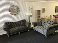 Miko 3+2 Seater Grey Chesterfield Sofa BRAND NEW