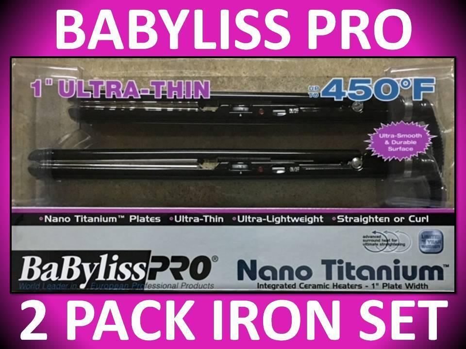 Babyliss Pro Nano Titanium Ultra Thin 1 inch Flat Iron Combo