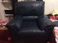 Comfortable & Spacious Blue Armchair