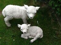 2 Lambs garden statues