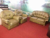 3 piece vintage green leather suite