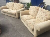 STUNNING PAIR OF CHAMPAGNE COLOURED SOFA'S VERY COMFORTABLE & IN EXCELLENT CONDITION.