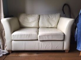 2 seater White leather sofa