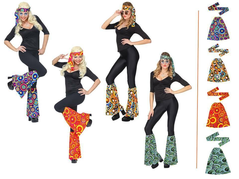 Hippie Damen Kostüm Set Stirnband & Stulpen Flower Power Brille 70er Jahre, (K)