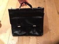 100% Leather Black satchel Briefcase