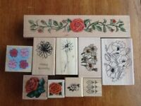 Selection of Flowers rubber stamps