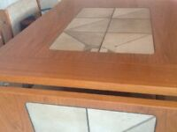 Teak and tile insert dining table & 4 chairs