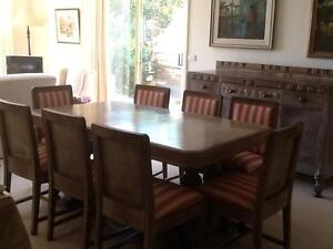 Classic Dining table + 8 chairs.  Auto tray table. Sideboard. Canberra City North Canberra Preview