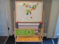 Wooden 2 in 1 Art Easel Stand with Chalk Board&White Board for Children Drawing Painting