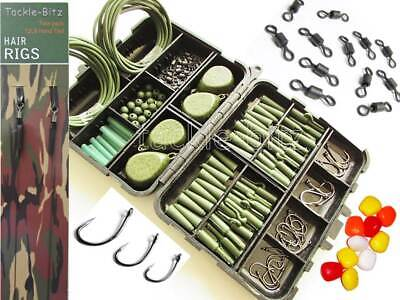 Green Fishing Tackle Box Set 4 Carp Weights Safety Clips Hooks Swivels Hair rigs