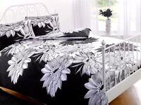 Contemporary Art Deco Floral Duvet Cover - Reversible Bedding Set & Pillow Case single