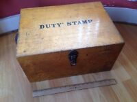 Large vintage duty stamp box,great condition,