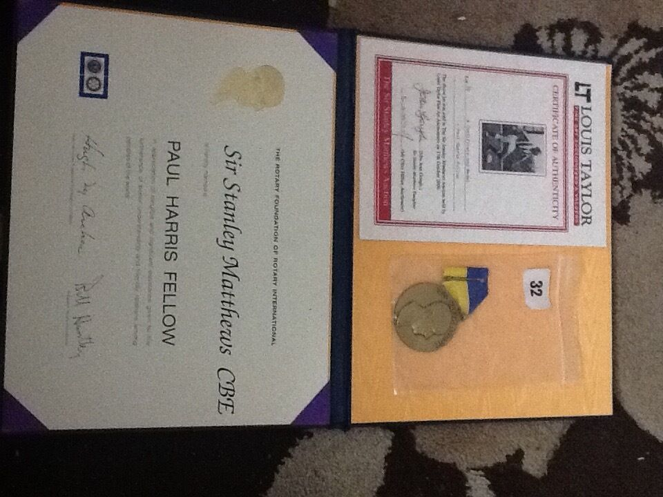 """Sir Stanley Matthews """"Paul Harris"""" Awardin Castle Bromwich, West MidlandsGumtree - Sir Stanley Matthews """"Paul Harris"""" Award for the Rotary Foundation Of Rotary International Was brought from the official Sir Stanley Matthew auction at the Stoke City Football Club Briannia Stadium on Tuesday 17th October 2000 Includes medal,..."""