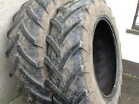 TRACTOR TYRES 16.9/38 (420/85/38) MICHELIN AGRIBIBS RADIALS WITH 30% TREAD £225 FOR BOTH TYRES