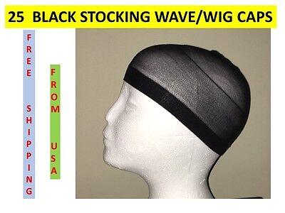 25 PIECES BLACK STOCKING WAVE WIG CAPS KNIT USA SHIPPER DURAG DOORAG BULK](Wig Caps Bulk)